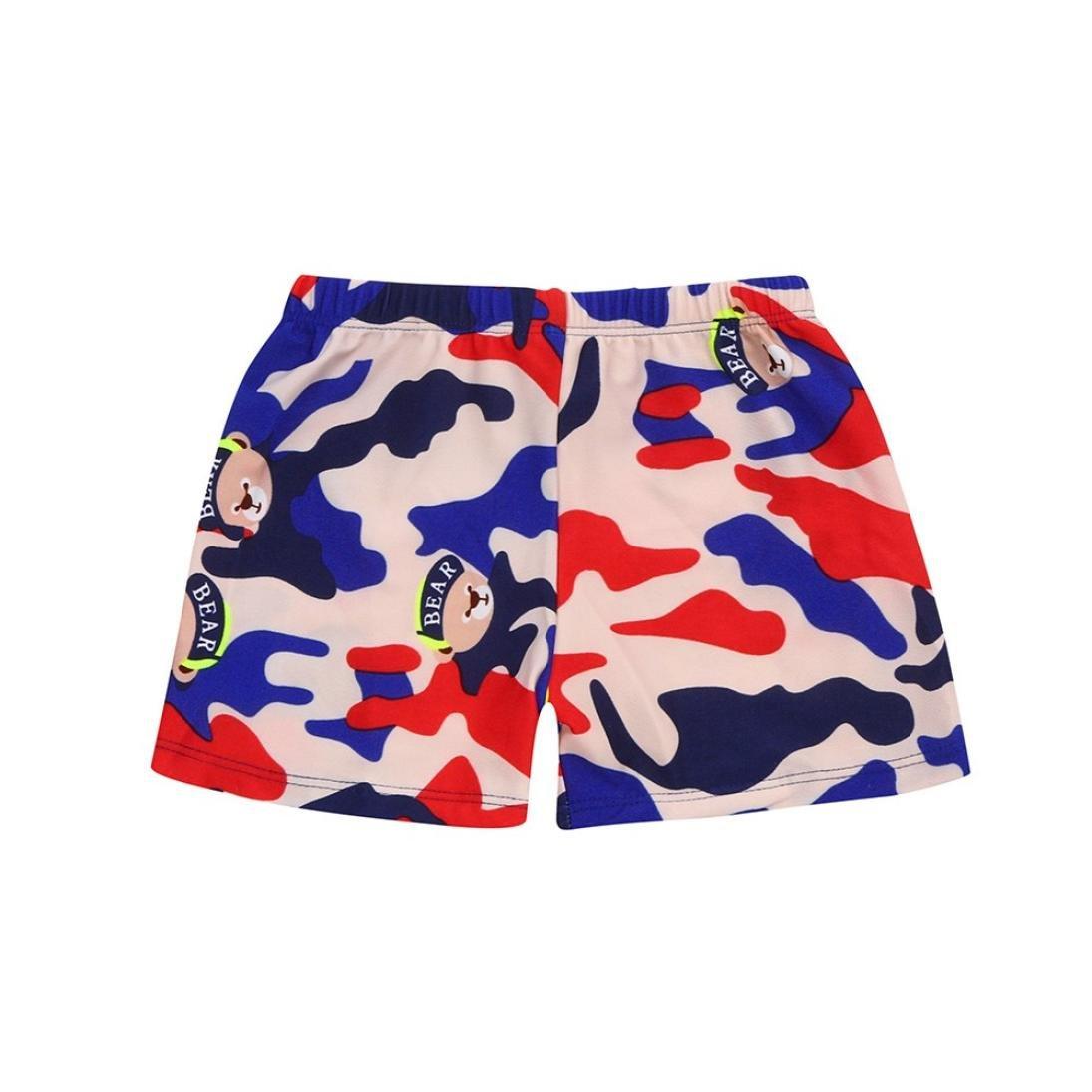 Efaster Kid Children Boys Cartoon Pattern Print Beach Swimsuit Swimwear Shorts (Khaki, 4-6 T)