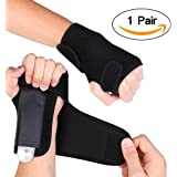 Wrist Brace[1 Pair] XIXOV Wrist Splint Support Training Protector Wrist Wraps for Wrist Pain, Sprain, Carpal Tunnel, Gym Fitness Bands, Black