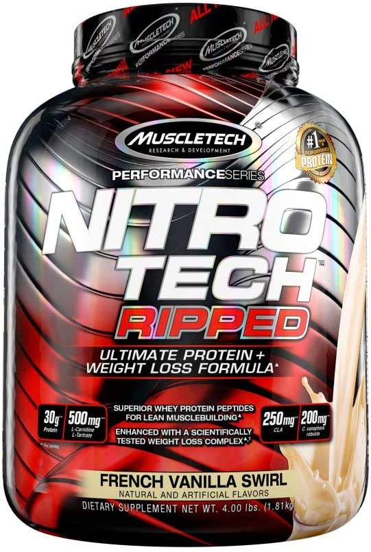 Protein Powder for Weight Loss | MuscleTech Nitro-Tech Ripped | Lean Whey Protein Powder + Weight Loss Formula | Lose Weight | Weight Loss Protein Powder for Women & Men | Vanilla, 4 lbs (42 Servings): Health & Personal Care