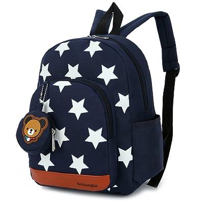 DafenQ La mochila de jardín de infantes embroma la bolsa de la escuela de la taleguilla Bolso de escuela animal lindo, regalo de cumpleaños de la Navidad para los niños (Azul Marino): Equipaje