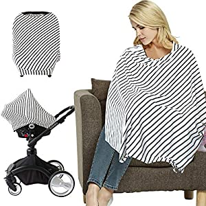 Nursing Cover for Breastfeeding with Sewn in Pocket Adjustable Mother Privacy Nursing Baby in Public Apron Cover Free Matching Pouch Breathable Cotton White Leaves