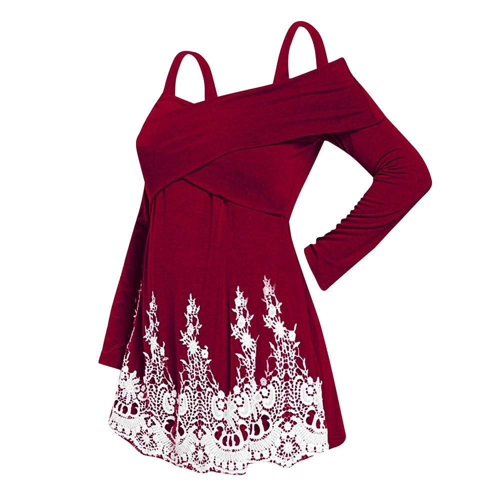 ASERTYL Off Shoulder Sweatshirt Fashion Women Casual Plus Size Cold Shoulder Applique T-Shirt Camis Tops Blouse