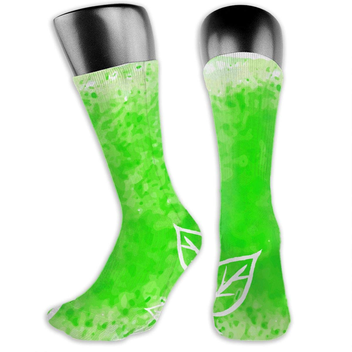 OLGCZM Modern Green Watercolor Leaves Men Womens Thin High Ankle Casual Socks Fit Outdoor Hiking Trail