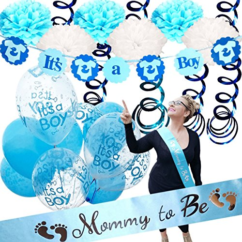 Baby Shower Decorations For Boy - Mommy To Be Sash | ITS A BOY | Banner Theme | Blue White Clear | Decor Tissue Paper Flower Pom Poms Party Supplies Table Cloth Favors Balloons