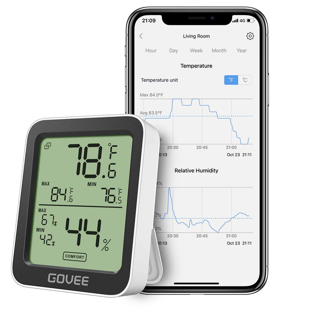 Govee Indoor Hygrometer Thermometer, Humidity Temperature Gauge with Large LCD Display, Notification Alert with Max Min…