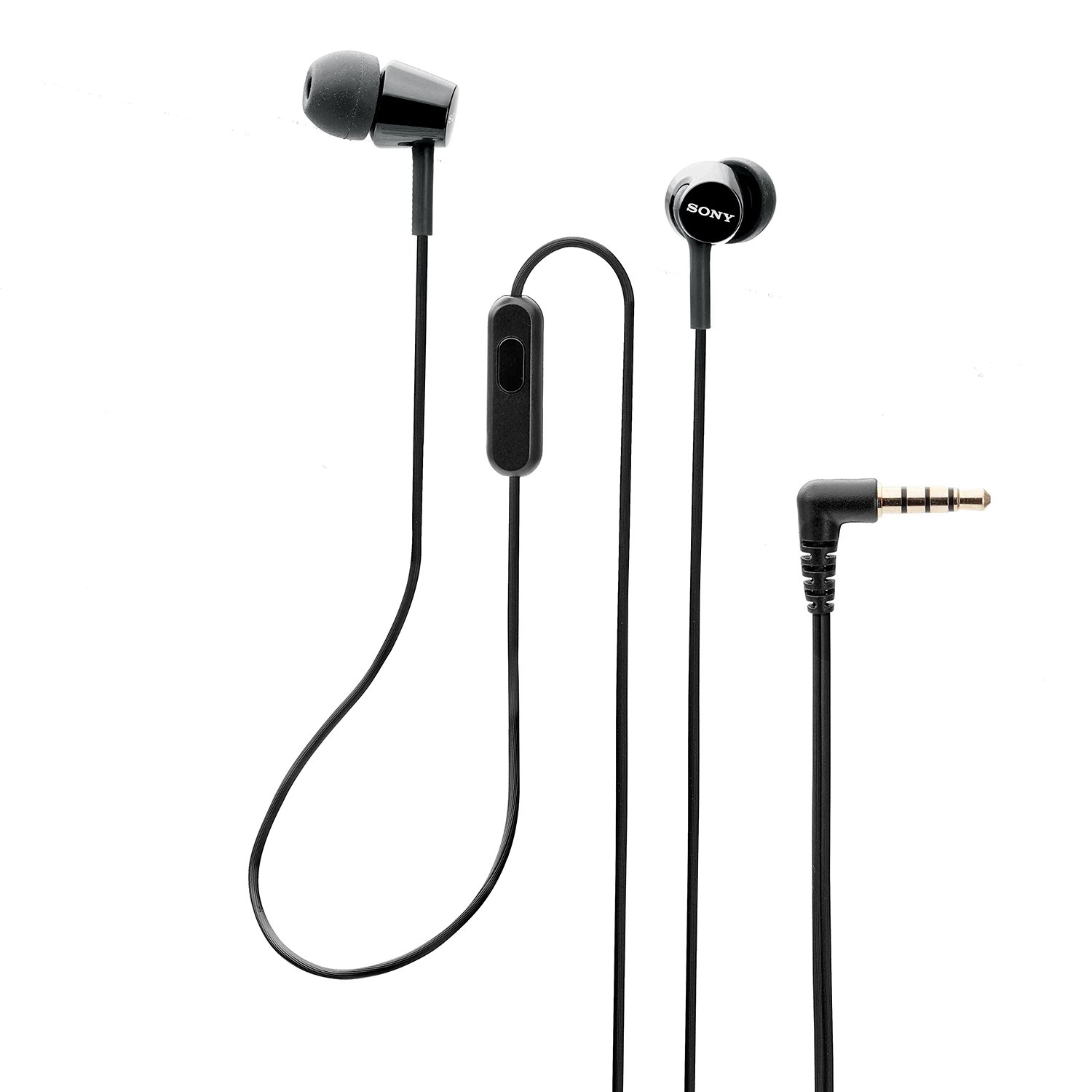Sony MDR-EX150AP Wired In-Ear Headphones with tangle free cable, 3.5mm Jack, Headset with Mic for phone calls and 1 Year Warranty - (Black)