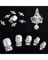 Lot de 10décorations pour nail art strass 3D Couronne Cristal alliage et argent Paillettes DIY