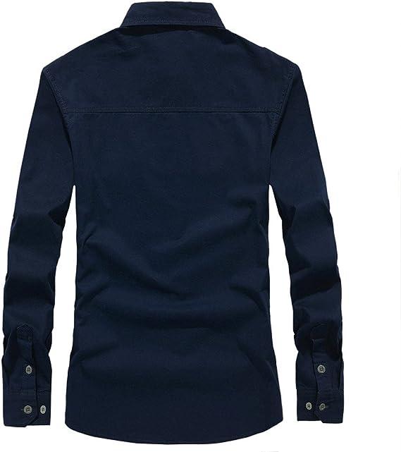 ALIKEEY Men S Retro Tooling Solapa Cotton Casual Camisa De Manga Larga para Hombres Otoño Carga Militar Botón Top Blusa Vestido De Slim: Amazon.es: Ropa y accesorios