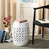 Safavieh Castle Gardens Collection Lattice Coin Ceramic Garden Stool, White For Sale