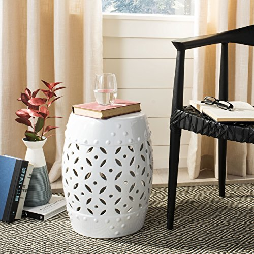Safavieh Castle Gardens Collection Lattice Coin Ceramic Garden Stool, White (White Garden Stool Ceramic)
