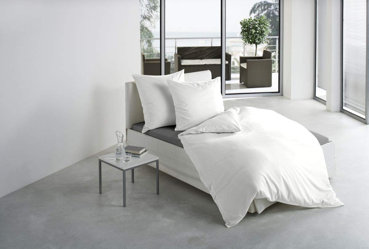 Bierbaum hochwertige Uni Fein Biber Bettwäsche 3 tlg. 200x220cm einfarbig einfarbig einfarbig Weiß 100% Baumwolle 0cdc5d