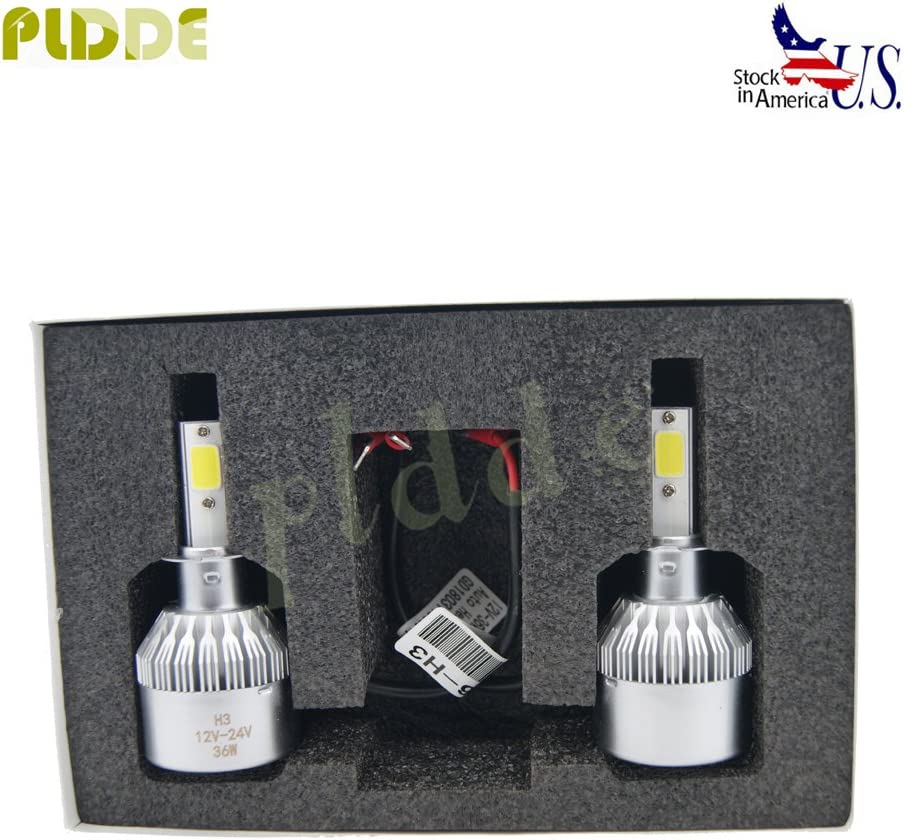 PLDDE 2pcs H3 6000K Cool White 7200LM All-in-One LED COB Bulbs Conversion Kit For Headlights High Low Beam Driving Fog Light DC 12V//24V IP67 Waterproof Pack of 2 Driver+Passenger Replacement