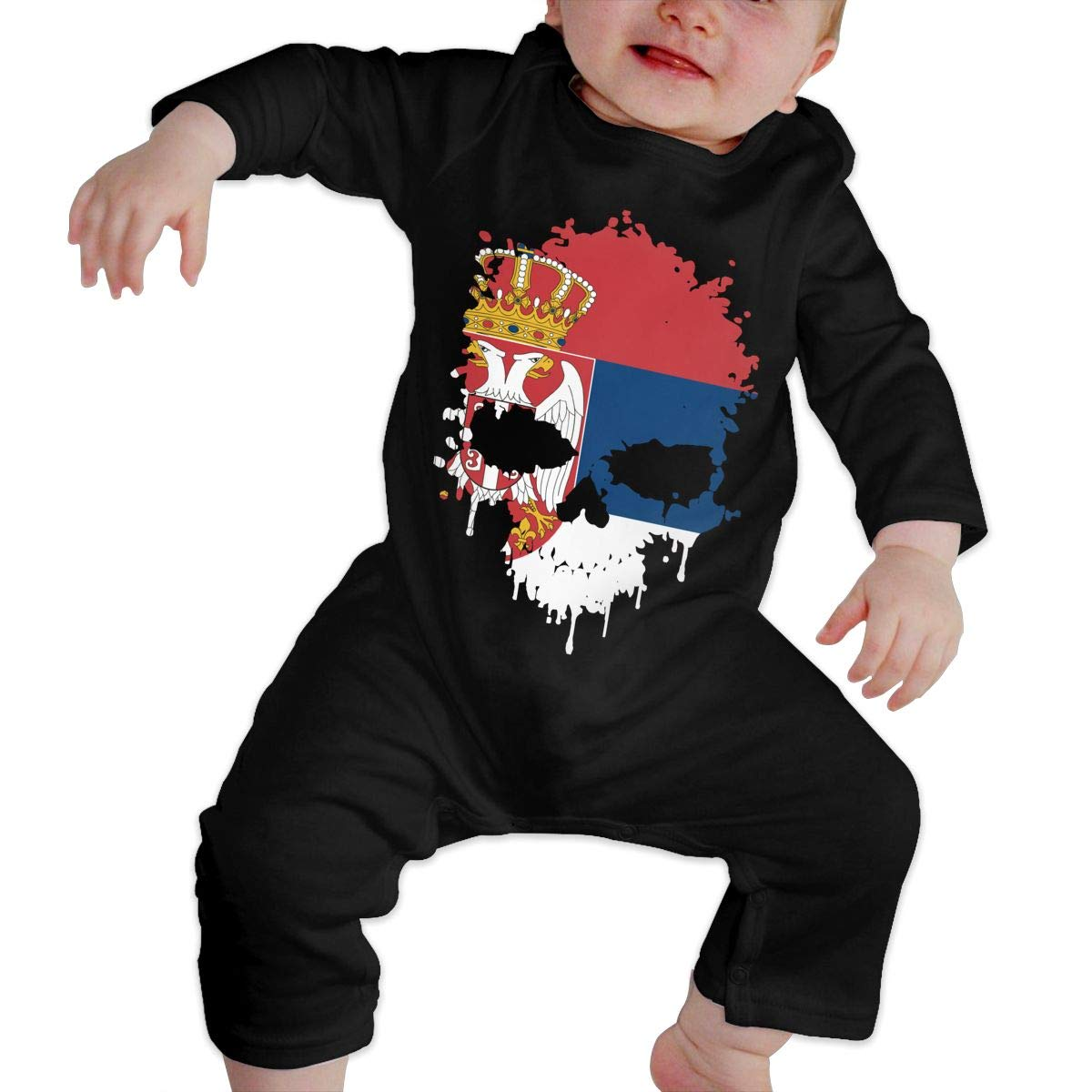 Cute Serbia Skull Crawler U99oi-9 Long Sleeve Cotton Bodysuit for Baby Girls Boys