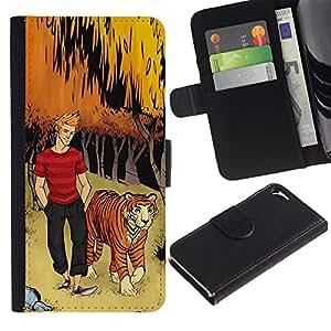 WonderWall Fondo De Pantalla Imagen Diseño Cuero Voltear Ranura Tarjeta Funda Carcasa Cover Skin Case Tapa Para Apple Iphone 5 / 5S - tigre arco forestales hombre tipo muchacho niños