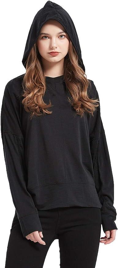 METARINO Womens Merino Wool Hoodie Shirt Long Bating Sleeve Lightweight Sweatshirt for Hiking,Running,Cycling