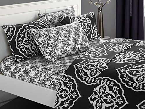 - Chic Home 6 Piece Marquis Two-Tone Medallion Print Pattern Design King Sheet Set Black