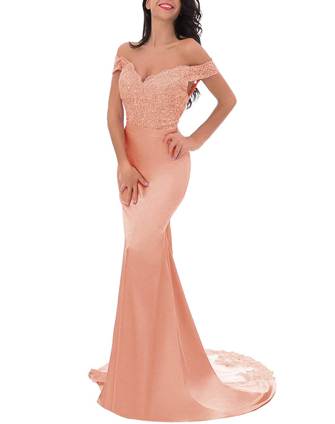 The Cambridge Collection Womens Off-Shoulder Split Skirt Evening Gown