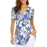 Tops de Verano para Mujer Tallas Grandes Blusas Florales Casuales Camisas de Manga Corta con Cuello en V M-4XL