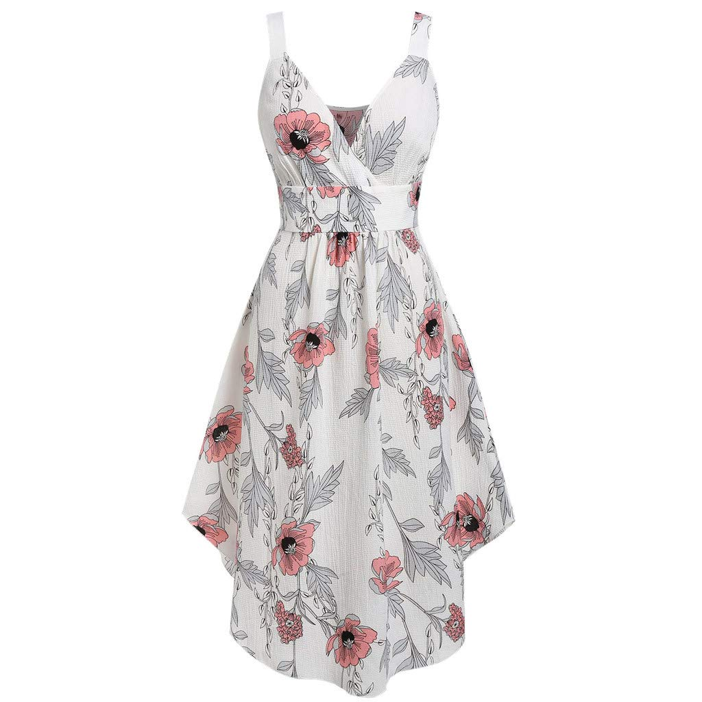 Women Strap Swing Midi Dress Summer New Wrap V- Neck Floral Print with Lace Top Plain Two -Pieces Short Beach Dresses (XX-Large, White) by LANTOVI Women Dress (Image #3)