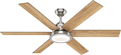 Hunter Warrant Indoor Ceiling Fan with LED Light, 60 , Brushed Nickel