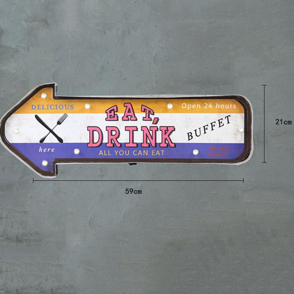 Spotleuchten & Leuchtensysteme XIAYF Weinlese Schmiedeeiserne Dekorative Wanddekoration LED Beleuchtung Wandbild Coffee Shop Bar Hause Persönlichkeit Dekoration Innenbeleuchtung