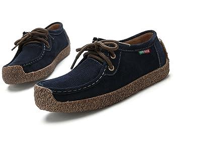 Xiu xian Men's Snail Casual Lace-up Genuine Leather Flat Sneaker Shoes