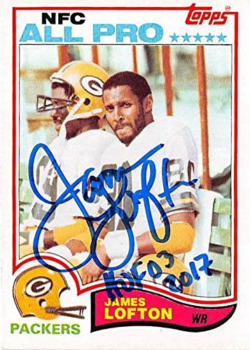 (James Lofton autographed football card (Green Bay Packers Hall of Fame) 1982 Topps #364 inscribed HOF 03)