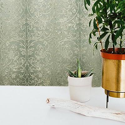 paste the wall Premium Embossed European Slavyanski modern rolls wallcoverings washable victorian damask pattern Vinyl Non-Woven Wallpaper mint ( gray silver with green hue metallic) textured glitters