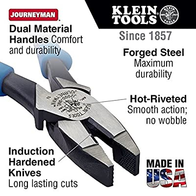 Side Cutter Linemans Pliers, High Leverage, 9-Inch, Streamlined Design, Color Coded Klein Tools J213-9NE - Klein Journeyman Side Cutting Pliers - .com