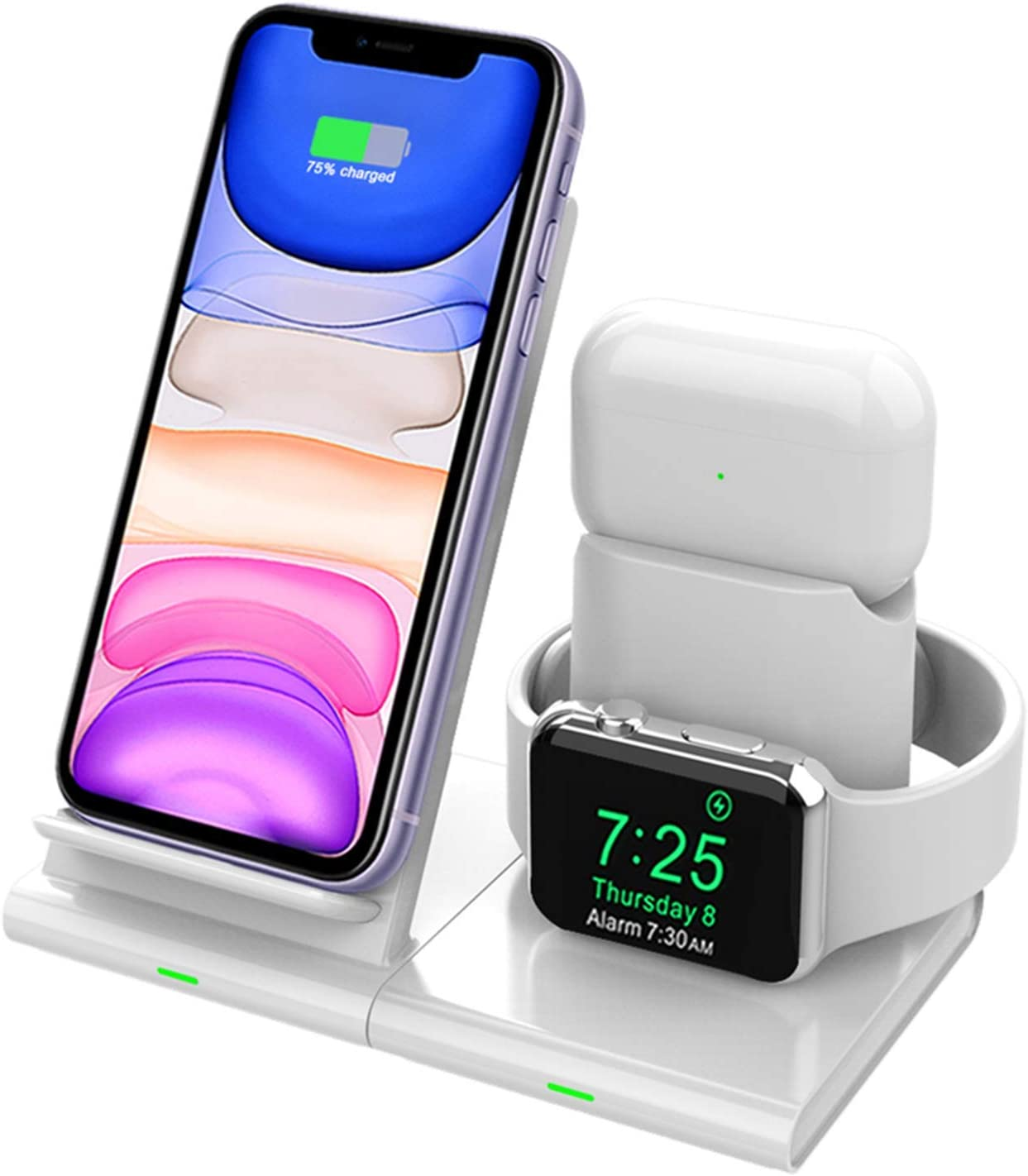 Hoidokly Cargador Inalámbrico, 3 en 1 Soporte de Carga para iPhone y Apple Watch, Base de Carga Rápida para iWatch 1/2/3/4/5, AirPods, iPhone 11/11 Pro MAX/XS MAX/XR/X(No Cable de Carga del iWatch)
