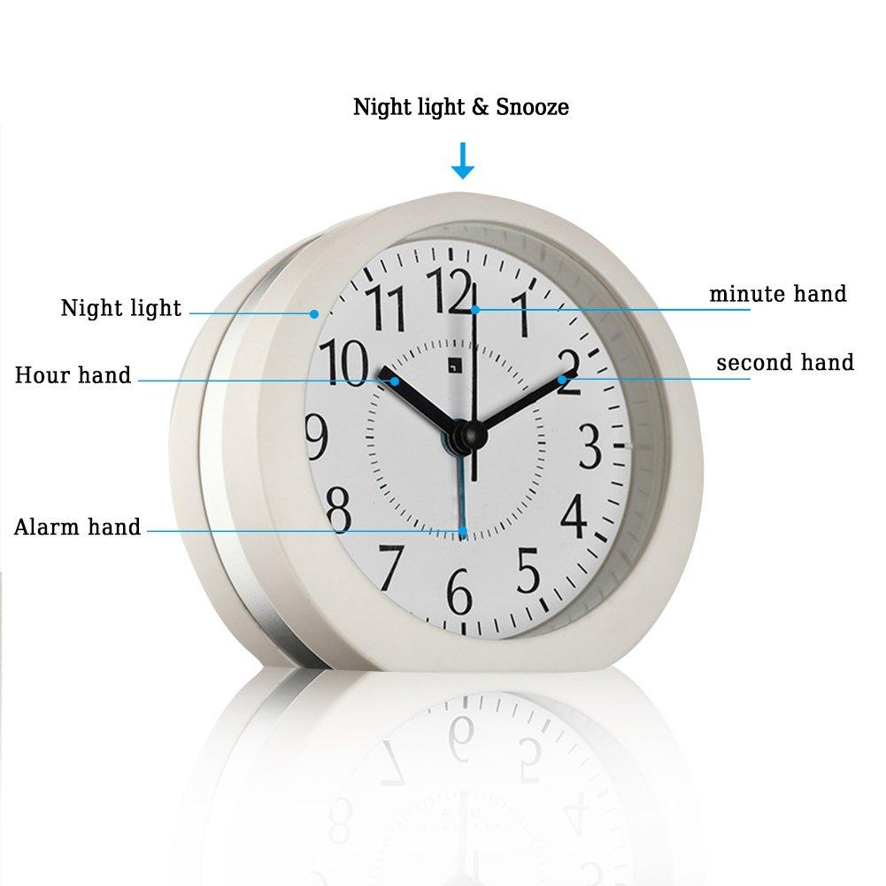 Wecker HQOON Batteriebetriebener Wake Up Snooze wecker mit Nachtlicht f/ür Heim und B/üro schwarz kein Ticken ger/äuschlos Reisewecker lauter Alarm Batterien nicht im Lieferumfang 4 AA Batterien