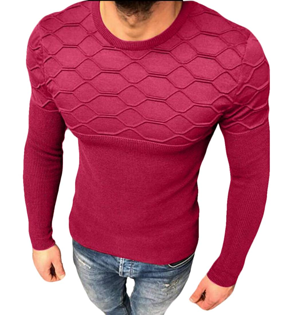 YYear Mens Slim Knitwear Crewneck Basic Long Sleeve Pullover Sweater