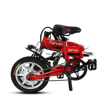 Cyrusher® XF600 Bicicleta Eléctrica Roja 240W 36V Bicicleta de Viaje Bicicleta Batería de Litio Bicicleta Plegable Suspensión Completa Frenos de Disco Doble ...