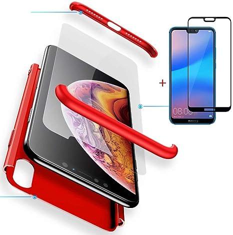 FGXG Compatible para Funda Huawei P20 Lite Caso + [1 * Vidrio Templado] 360 Grados PC Cáscara de protección ,Resistente al Polvo y al Rayado Case (Rojo): Amazon.es: Electrónica