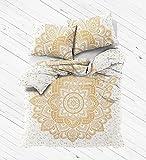 Kiara 3 Pcs Mandala Bedding Posture Million Romantic Soft Bedclothes Plain Quilt Coverlet Boho Twill Bohemian Duvet Cover Set Queen / Twin Size (White Gold Flower Mandala, Twin)