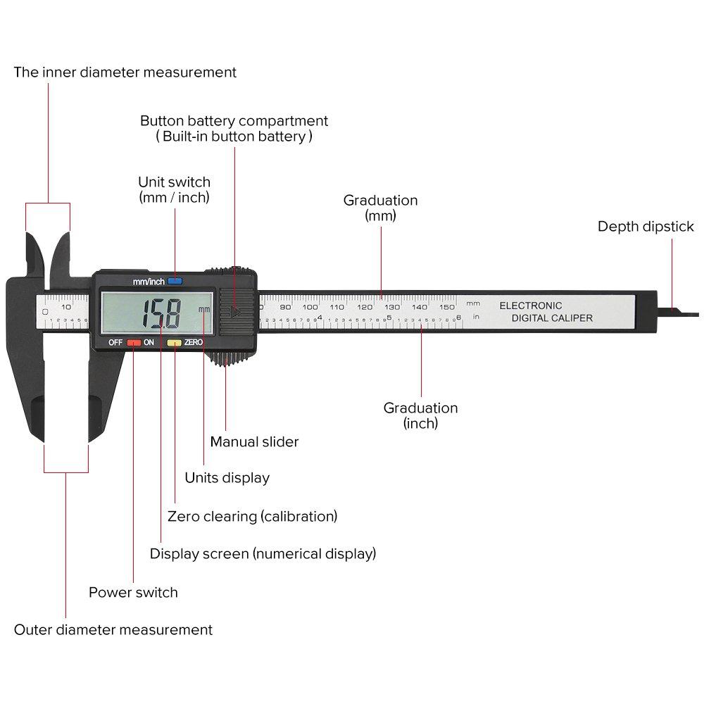 amazon com: electronic digital caliper, plastic vernier caliper, caliper  measuring tool with inch/millimeter conversion, extra large lcd screen,