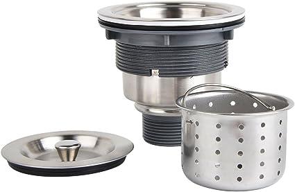 Colador de fregadero de cocina de 3-1//2 pulgadas con cesta de residuos profundos extra/íble//ensamble de coladora//tapa de sellado acero inoxidable