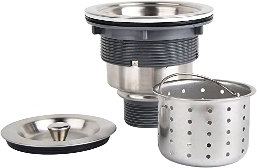 KONE Garbage G231 3-1/2-inch Kitchen Sink drain Removable Deep Waste  Basket/Strainer Assembly/Sealing Lid, Stainless Steel