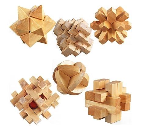 KAILIMENG 3D Wooden Cube Brain Teaser Puzzle, Set of 6