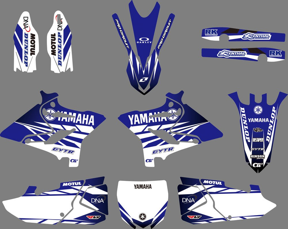 Amazon com dst0628 customized 3m sticker motorcross graphic motorcycle decals stickers kit graphics set for yamaha yz125 yz250 x 2015 2016 2017 2018
