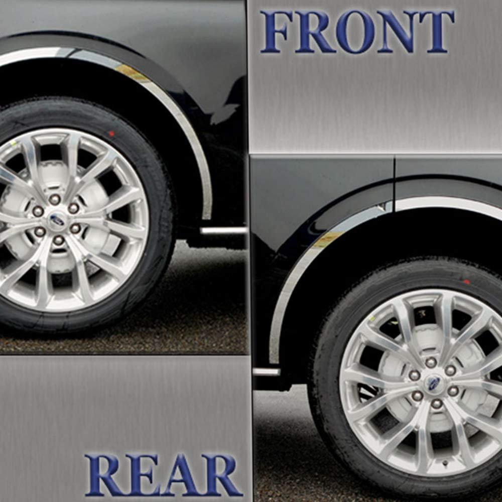 Brighter Design Stainless Steel Long Fender Trim 6p fit for 18-19 Ford Expedition w//o OE Panels