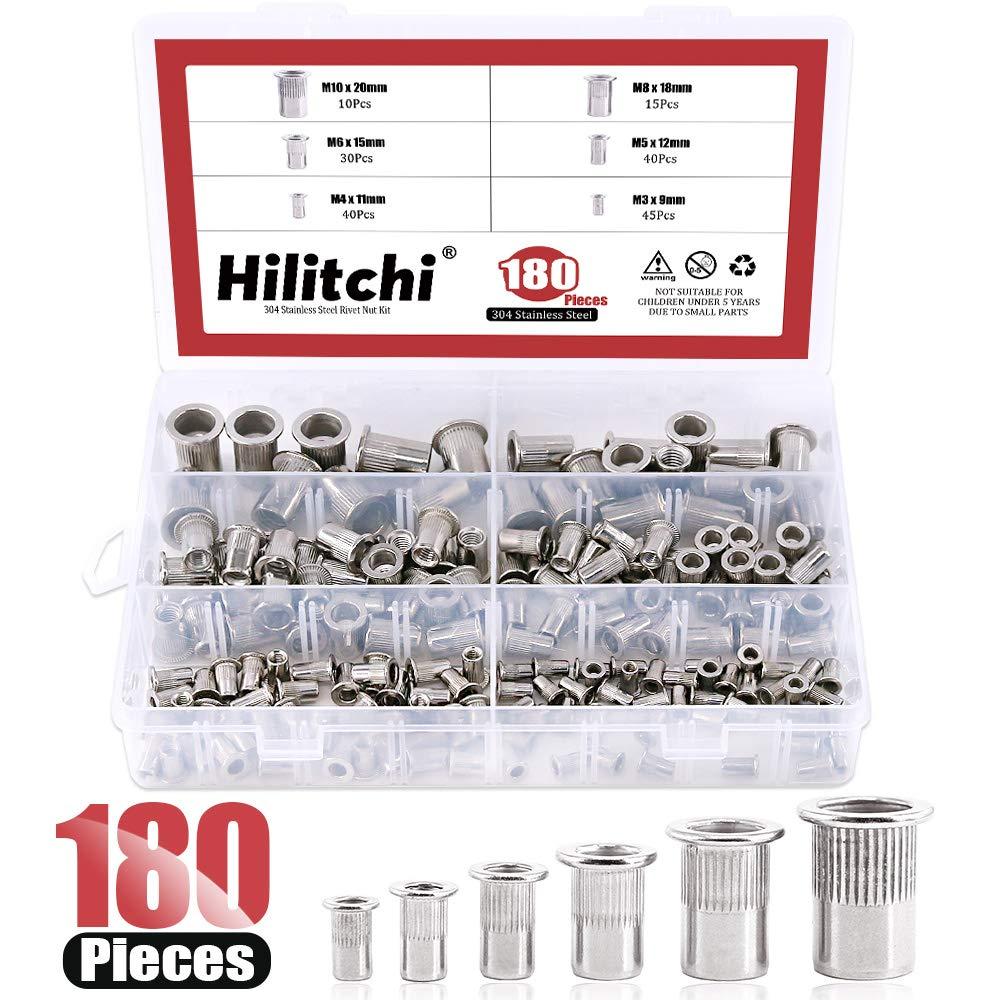 Hilitchi 180-PCS M3 M4 M5 M6 M8 M10 Flat Head Rivet Nut Threaded Rivetnut Insert Nutsert Assortment Kit- 304 Stainless Steel by Hilitchi