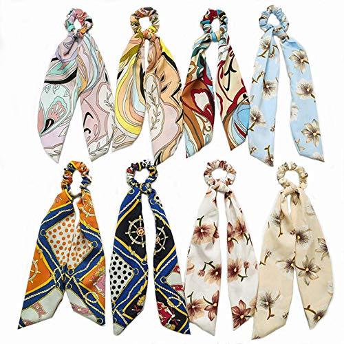 Women Hair Scarf Bowknot Streamers Scrunchies8 pcs Ponytail Holder Summer Headbands Elastic Hair Ties for Girls ()