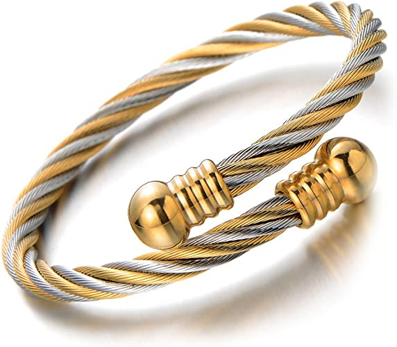 Steel Cable Cuff 304 Stainless Steel Silver /& Gold