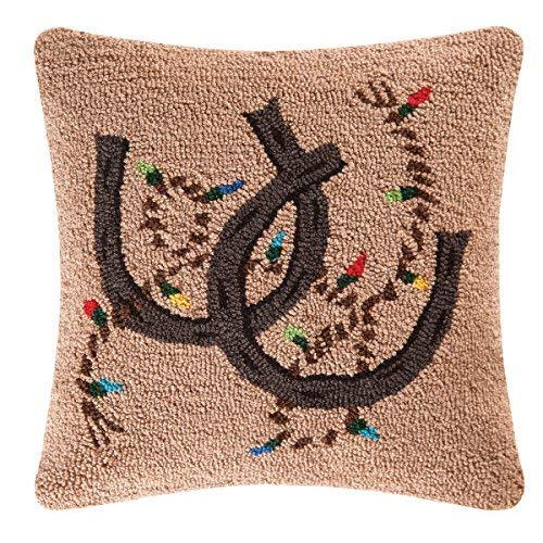 C&F Home Holiday Rodeo Hooked Christmas Pillow, Tan [並行輸入品] B07R96KXC2