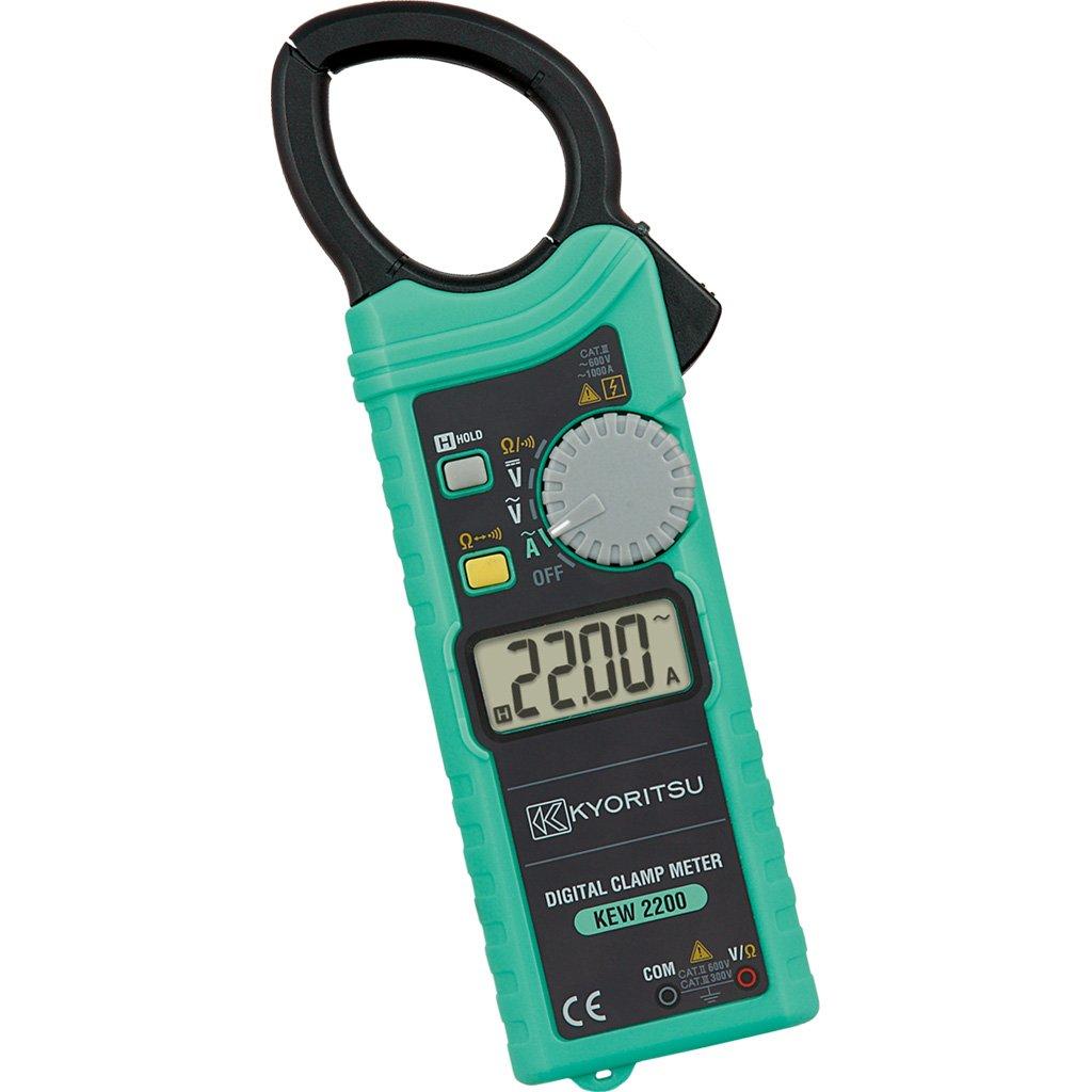 Kyoritsu Kew 2200 Pinza amperimé trica digital compacta ultrafina para la tamañ o de corriente AC, tensioni AC/DC, resistencia, continuidad, Gris Vemer VE753300