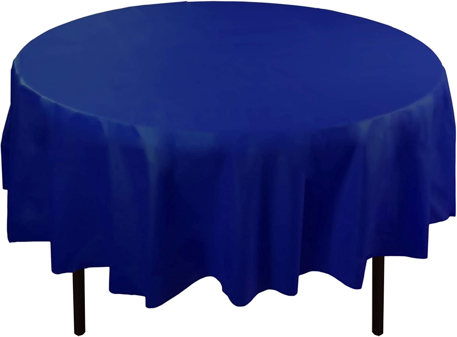 Exquisite 12-Pack Premium Plastic Tablecloth 84in. Round Table Cover - Navy Blue