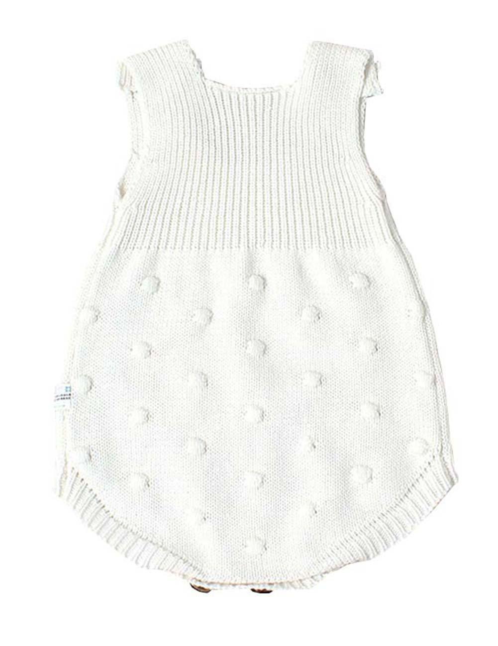 7f73e155b Eiffel Direct Baby Girls Boys Knitted Striped Spot Romper Sleeveless ...