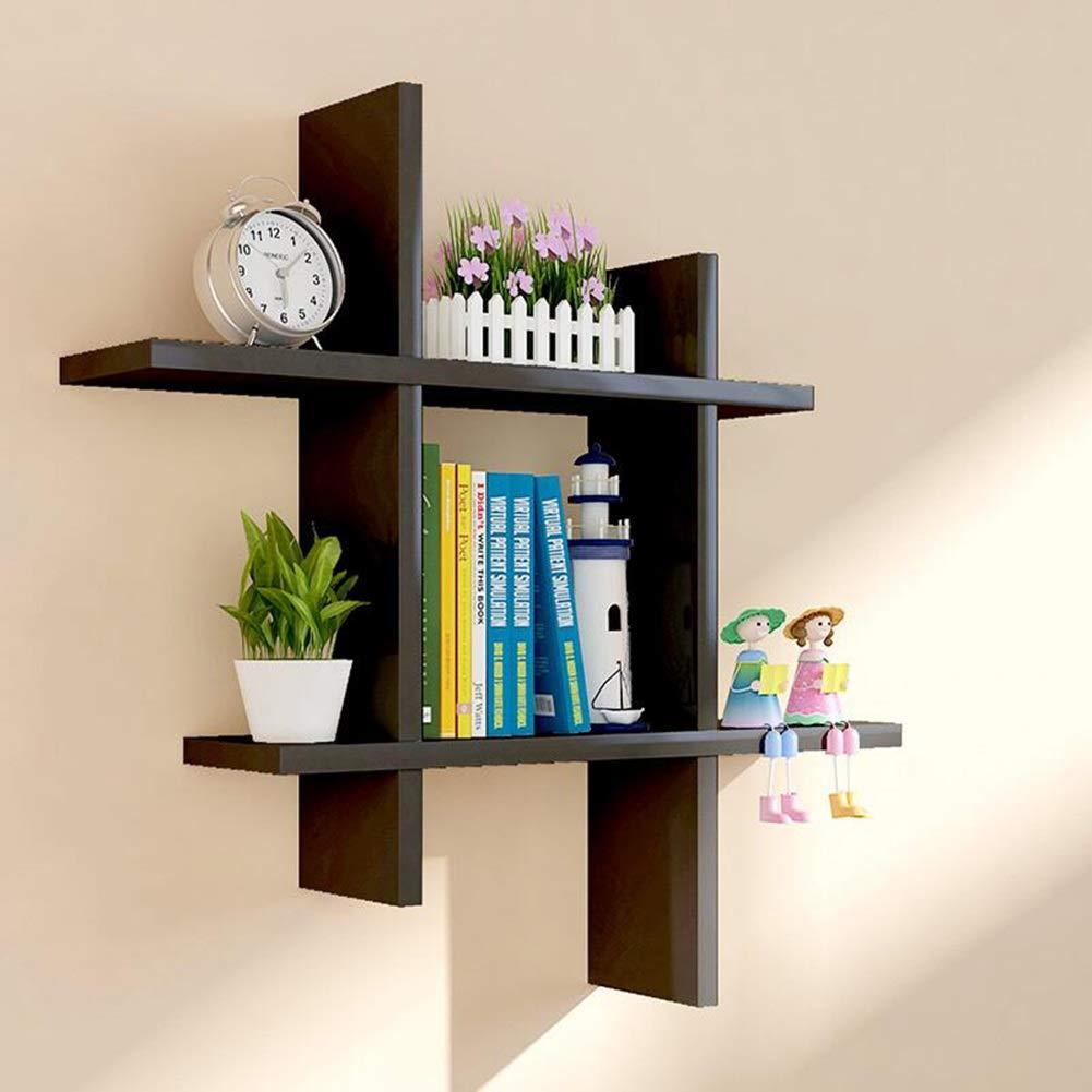 Bookshelf,  Wooden Derrick Paint Light TV Background Wall Shelf Decorative Frame Partition Wall  (White Red Black) Yixin (Color : C, Size : 606015cm)