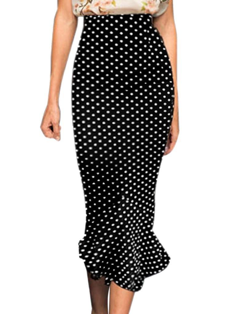 VfEmage Women's Vintage High Waist Wear to Work Mermaid Pencil Skirt 607 Black 12